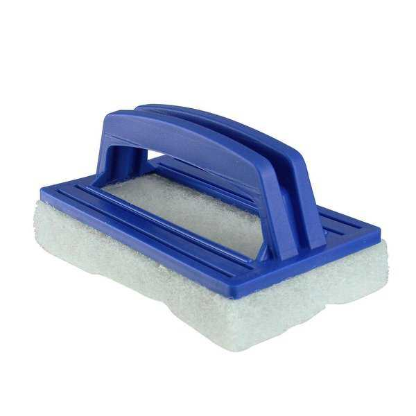 5.5' Blue Hand-Held Swimming Pool Wall and Floor Scrubber Pad Brush with Molded Handle
