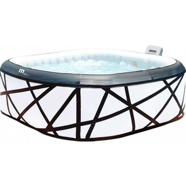 MSpa Soho Silver & Black Hot Tub, 6 Person Inflatable Square Bubble Spa / M-029S